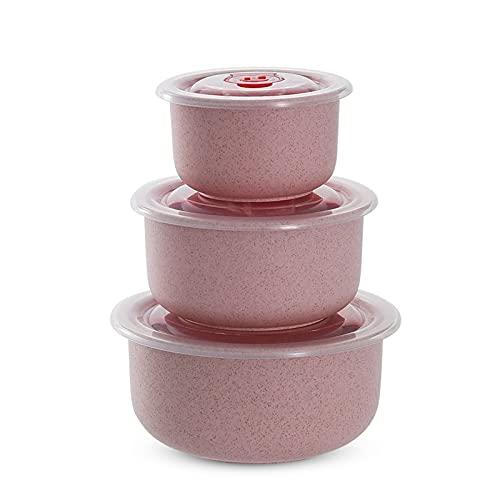Keleily Fiambreras de Plástico,3Piezas Contenedores Almacenamiento Alimentos Cuencos herméticos de Fideos para microondas con Tapa Recipientes Paja de Trigo Saludable Sopa de fideosde plástico Cuenco