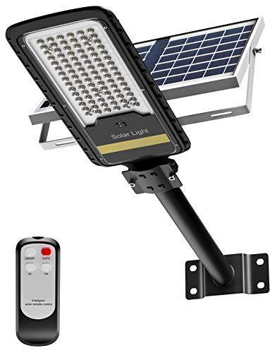 Lampione solare led esterno, 80W Lampioni da giardino esterno con Pannello Solare, 84LED Luce Solare Led Esterno, 6500K Luce Fredda, Lampada con Telecomando IP67 Impermeabile