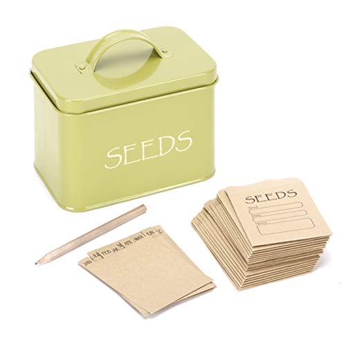 Katai Saatgutaufbewahrungsbox Organizer aus Stahl in Grün. Kompakter Saatgutbeutelbehälter mit Deckel Komplett mit Monatsteilern, 20 Umschlägen und Bleistift