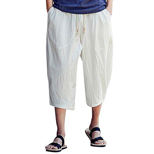 Aiserkly Männer beiläufige dünne Sporthosen wadenlange Leinenhose Baggy Harem Pants Weiß 3XL