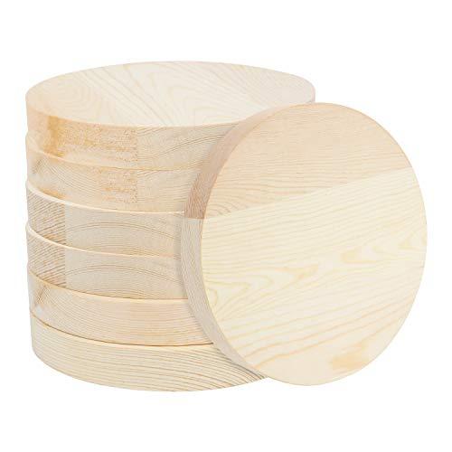 BELLE VOUS Runde Holzscheiben zum Basteln (7er Pack) - Baumscheibe 15 cm Durchmesser- 20 mm Dick - Natürliche Holzscheiben Groß Ausschnitte für DIY-Bastelprojekte, Weihnachtsdeko & Türschilder