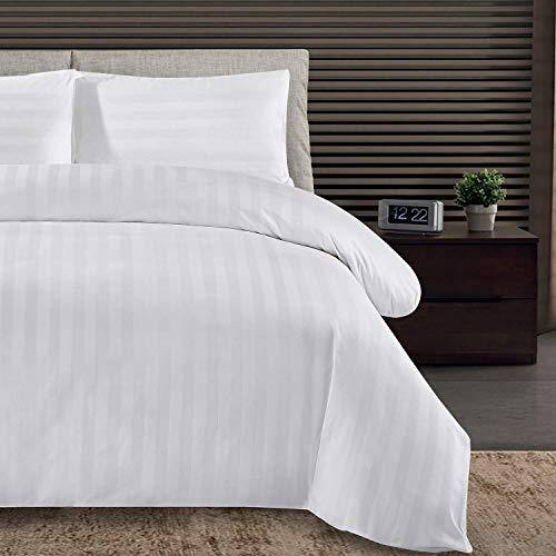 Weddecor Bed Set Duvet Cover Set, Satin Stripe White Duvet Cover with Zipper Closure and 1pc Pillow Case, Hotel Quality 300 TC Egyptian Cotton Bedding Set - Single (135cmx200cm)