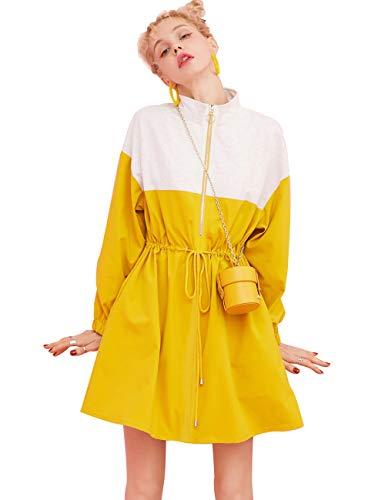 ELFSACK dames Zipper Drawstring Colorblock lang trenchcoat jurken vakantiejurken