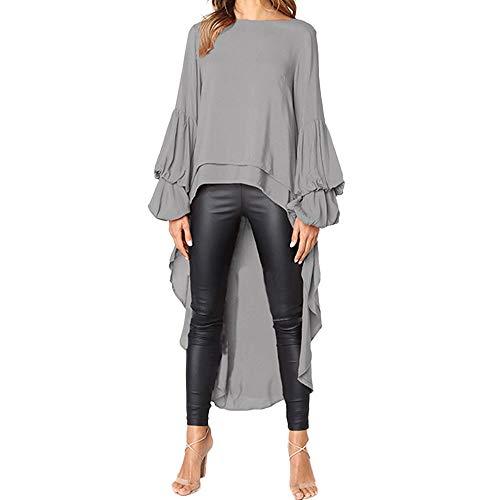TEBAISE Damen Unregelmäßige Strick Oversize Langarm Pullikleid Longshirt Top Minikleid Lose Asymmetrisch Jumper Sweatshirt Pullover Bluse Oberteile Tops