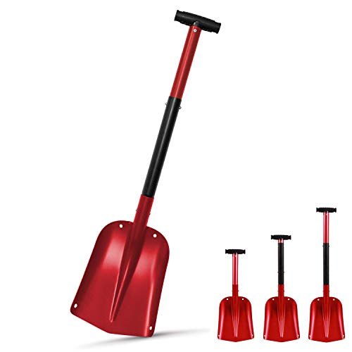 Jolitac Snow Shovel Sturdy Aluminum Lightweight Utility Winter Snow Removal Tools for Car, Camping and Outdoors Emergency, Collapsible Portable Snow Pusher (Red)