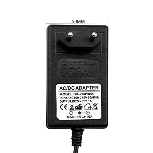 JRing Netzteil 24V DC 1A, EU-Plug 5,5/2,1mm, 24W Stecker-Netzteil für Radiowecker, LED-Strip Streifen, Speedport, Lichtleisten, USB-Hub, Switch, Router/Eingang 110-240V AC