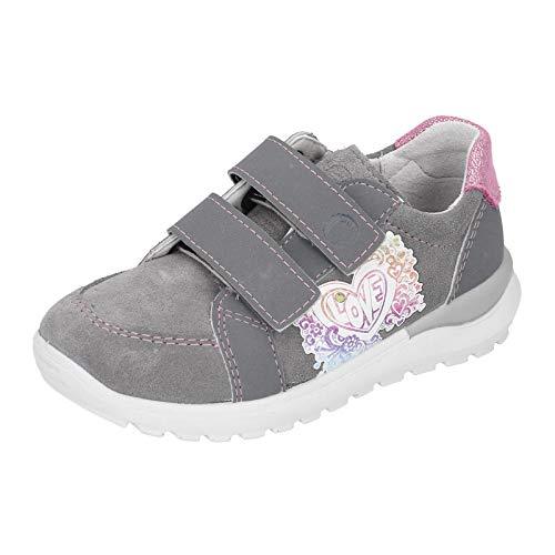 RICOSTA Kinder Low-Top Sneaker Bobbi, Weite: Mittel (WMS), Halbschuh sportschuh Klettschuh Klett-Verschluss,Graphit,25 EU / 7.5 Child UK