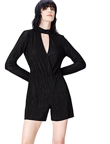 Amazon-Marke: find. Damen Playsuit mit langen Ärmeln, Schwarz (Black), 34, Label: XS