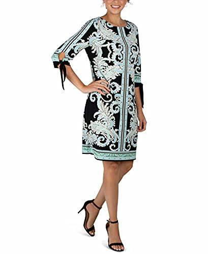 Sandra Darren 3/4 Tie Sleeve Dress, Multiple Sizes – Black, Ivory & Aqua Print