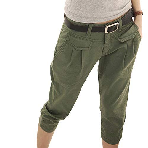 Inlefen Femmes Été Pantacourt Pantalon Mouvement Décontractée Un Pantalon Poche Coupe Slim Un Pantalon, Vert Armée, XXL