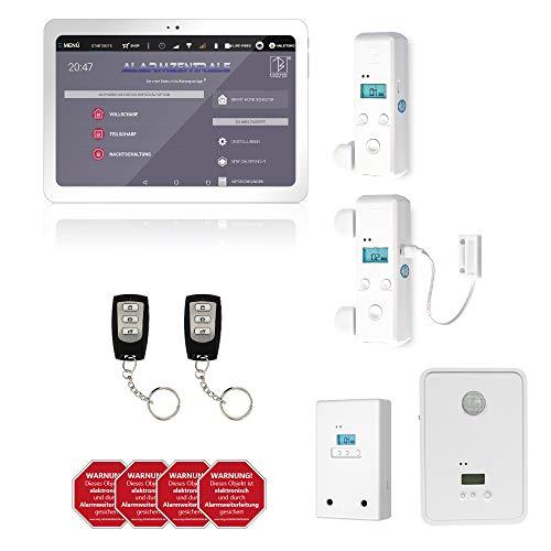 AlarmTab Alarmanlage GSM LTE I mit Bewegungsmelder, Tür/Fenstersensor I Alarmierung via SMS/Anruf I Beweissicherung: Fotos und GPS Daten