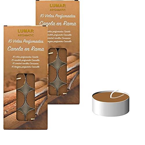 Vela de té perfumada, Velas Tealights aromatica con base de metal - duracion 5 horas (Canela en Rama, 20)
