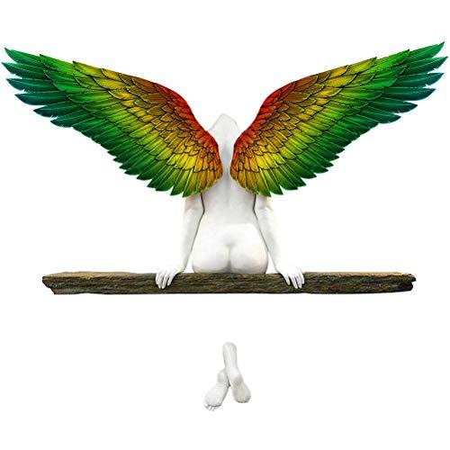 T.Y.G.F Escultura de pared de Angel Art, decoración minimalista de pared, decoración 3D Ángel Art Estatua Decoración para Salón y Dormitorio, Escultura de pared de alas de ángel vintage