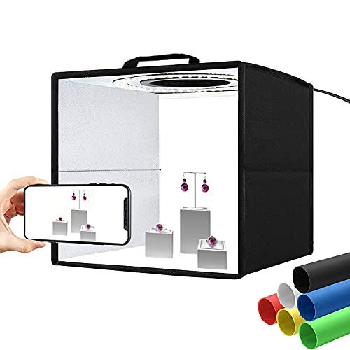 "Studio Light Box Kit 11.8""/30CM Cubo Fotografia Pieghevole Set Fotografico Portatile Professionale LightBox Luminosità Regolabile 120 luce LED Dimmerabile, 6 Fondali Colori"