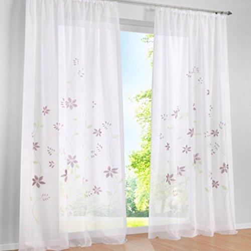 Yujiao Mao 1er Pack Voile Gardine Flowers farbenfrohe Vorhänge Schal mit Kräuselband Violett BxH 150x145cm