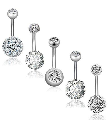 REVOLIA 5Pcs 14G Stainless Steel Belly Button Rings for Women Girls Navel Rings CZ Body Piercing S