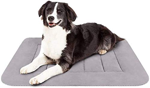 英雄狗中型狗床35英寸板条箱垫垫可洗防滑宠物床睡觉灰色M