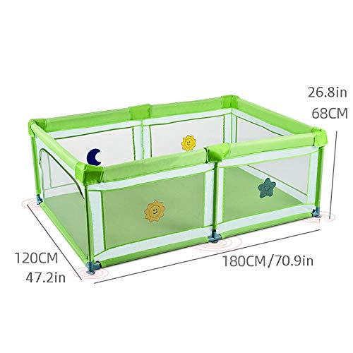 Vitila 27 sq ft GrünBaby Playpen mit Atmungsaktivem Netz,4 eckig Spielhaus für Kinder für Babys Kleinkind Neugeborene, Drinnen Und Draußen