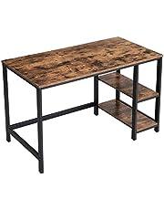 VASAGLE Bureau, computertafel, pc-tafel, bureautafel, met 2 planken aan de rechter- of linkerkant, voor kantoor, woonkamer, industrieel design, eenvoudige montage, vintage bruin-zwart LWD47X