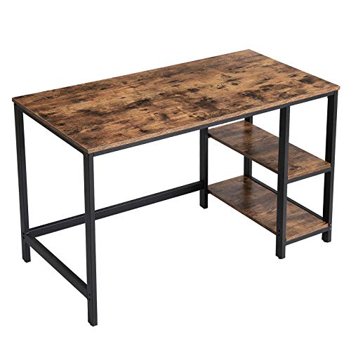 VASAGLE ALINRU Computer Desk, 47.2-Inch Long Home Office Desk for Study, Writing Desk with 2 Shelves on Left or Right, Steel Frame, Industrial, Rustic Brown and Black ULWD47X