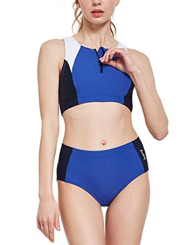 BALEAF Women's Workout Bikini Set Two Piece Training Swimsuit Zipper Athletic Rash Guard Blue/Navy/White 38