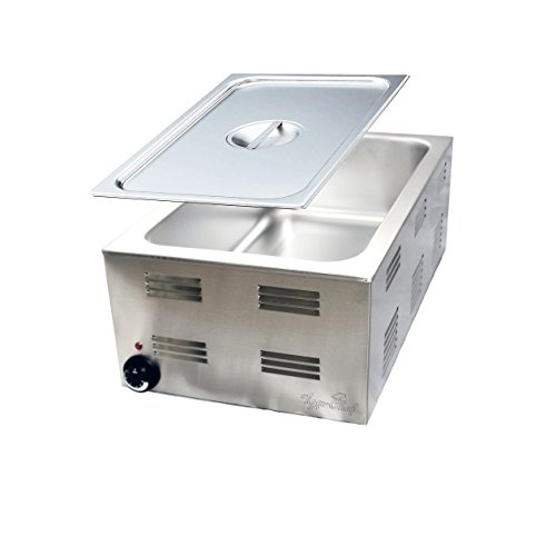 Tiger Chef Countertop Heavy Duty 1200-watt Electric Chafer Steam Table Food Warmer, Full Size, 120-volt, includes Steam Table Pan Cover
