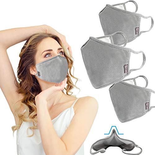 3 Pack Face Mask Cloth Reusable Washable Cover Triple Layer Shield Nose Bridge EU0304 Grey