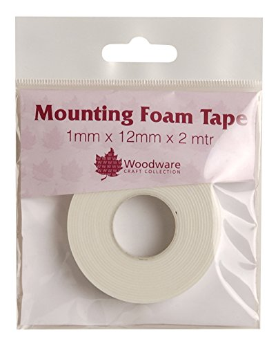 Woodware 1 mm Mounting Foam Tape, White, 14 x 10 x 1.2 cm