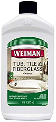 Weiman Bath Tub Cleaner - 16 Ounce - Fiberglass Cleaner for Bathrooms, Tile Tub and Fiberglass Whirlpool Spa Jacuzzi Hot Tub Jet Tubs