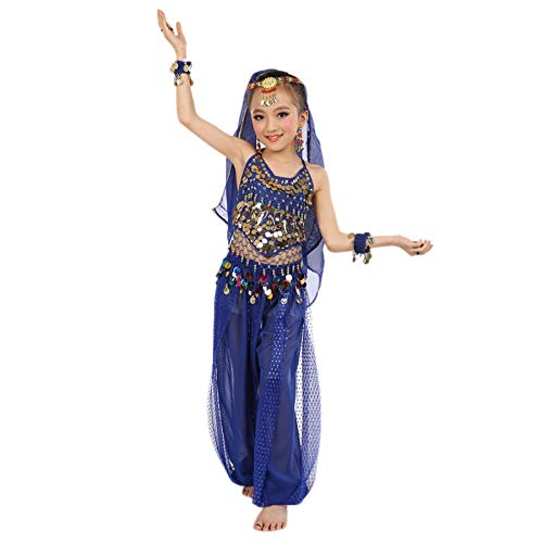 Amphia - Bauchtanz-Set für Mädchen-Indianertanz (ohne Schleier und Zubehör) - Handgemachte Kinder Mädchen Bauchtanz Kostüme Kinder Bauchtanz Ägypten Tanz Tuch (C(Blau ), L)