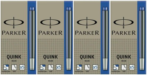 Parker Quink, Tintenpatronen, Blau, 20 Stück (4 x 5)