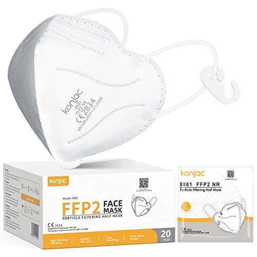 konjac Mascarillas FFP2 homologadas(20 unidades) CE 2834, 5 capas Mascarillas Faciales Embolsadas individualmente Con Salvaorejas. (20 unidades-blanco)