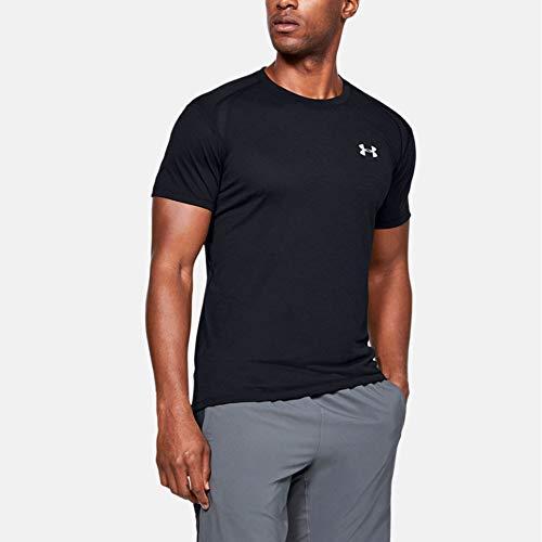 Under Armour Herren Streaker atmungsaktives Laufshirt für Männer, kurzärmliges Sportshirt mit enganliegender Passform, Schwarz (Black), M