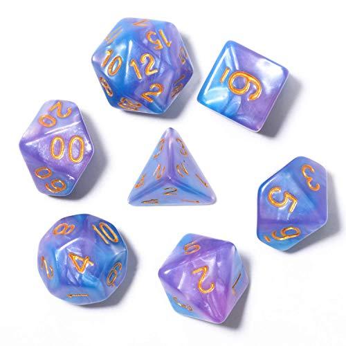 Set di dadi perlati poliedrici Giochi da tavolo Serie di dadi Dadi Serie D20 Dadi DND, D12, D10, D8, D6, D4 e dadi DND RPG MTG Doppi colori all'interno di un pezzo per giochi da tavolo (7 pezzi)