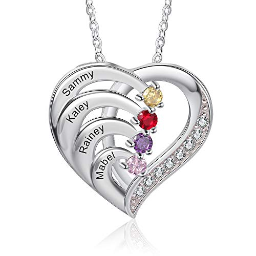 Personalized Necklace Silver 925 Women's Heart Pendant Necklace with 4 Names Engraving Mother Daughter Gift for Mother's Day Valentine's Day Christmas (4 names)