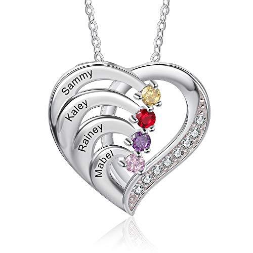 Personalisierte Namenskette Silber 925 Halskette Damen Herz Anhänger mit 4 Namen Gravur Mutter Tochter Kette Geschenk für Muttertag Valentinstag Weihnachten