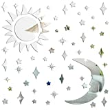 Amaonm Removable 3D Acrylic Mirror Surface Crystal Moon and Stars Wall Decal DIY Home Art Decor Wall Sticker Murals for Kids Boys and Girls Bedroom Room Ceiling Bathroom TV Background