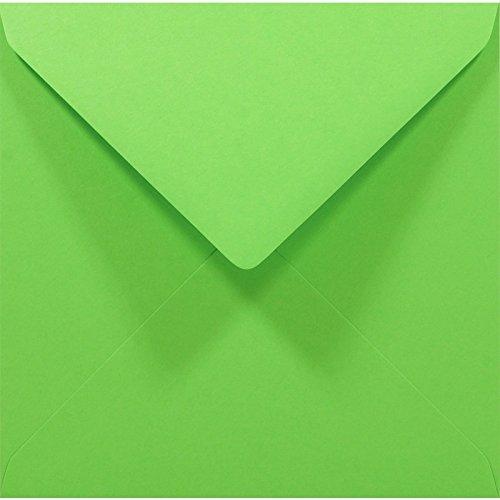 Netuno 1000 Stück Grün quadratische Briefumschläge, 140x140mm, Rainbow 80g, Spitzklappe, ohne Fenster, ideal für Hochzeit, Weihnachten, Grußkarten und Einladungen