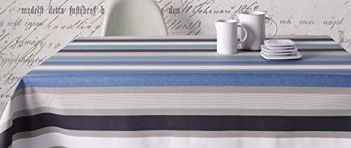 Mantel de Tela resinada Carvaggio con Estampado de Franjas Colores Azules y Grises. Libre de PCV, no Necesita Lavadora. Mantelería Anti-Manchas. (140_x_140_cm)