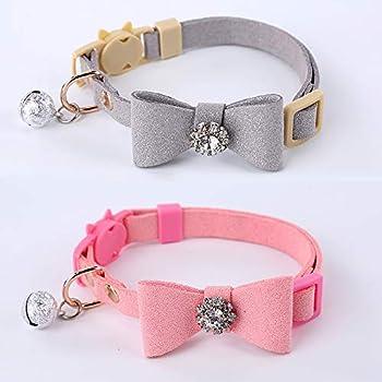 GOPET Adjustable Cat Collar Set Breakaway with Diamonds Bowtie Bell for Puppy Kitten  2 Pack