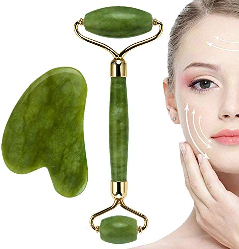 Rodillo de Jade, Gua Sha Jade Roller Authentic Massager, Natural Roller Anti Aging Facial Massage, Anti Aging Eye, Face and Neck Anti Wrinkle, Face Stone Massage