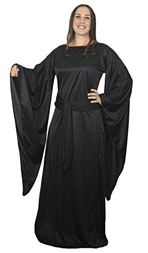 The Dragons Den Disfraz de bruja medieval LARP de juego de tronos para cosplay [L/XL, negro]