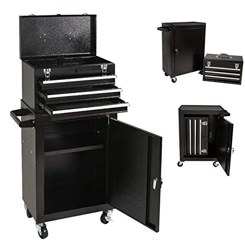Tool Chest&Tool Box,Rolling Tool Chest,Tool Cabinet with 4 Wheels,Tool Chest with 3 Drawers,Large Capacity Removable Toolbox with Lock for Garage and Warehouse (Black)