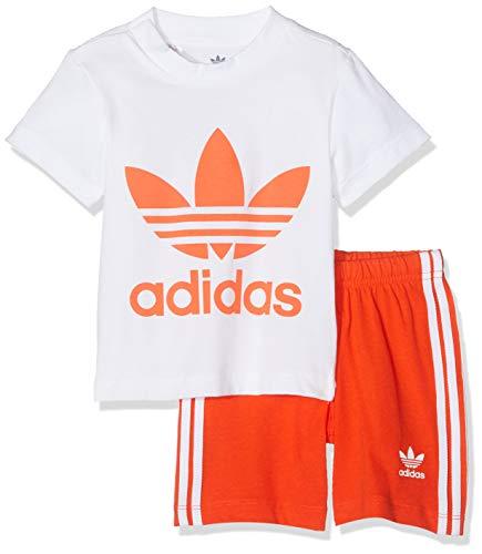 adidas Trefoil Conjunto de pantalón Corto y Camiseta, Unisex bebé, Superior: Blanco/Naranja Activo. Bottom Naranja/Blanco, 98