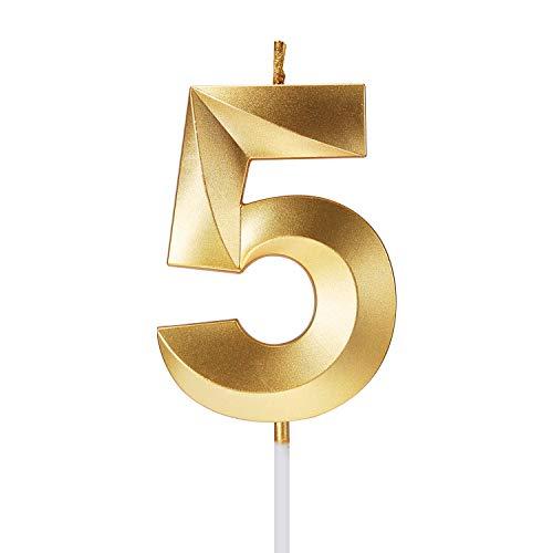 Smarcy Vela de Cumpleaños Número 5 Vela para Tarta Pastele Dorado Decoración de Pastel de Cumpleaños