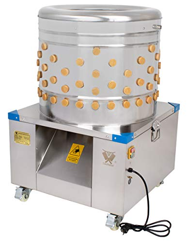 Beeketal 'BRM1800' Geflügelrupfmaschine auf Rollen für Hühner, Enten, leichten Gänsen und Puten, Nassrupfmaschine Kapazität: ca. 250 Geflügel pro Stunde (max. 8 kg Belastung oder 5 kg pro Tier)