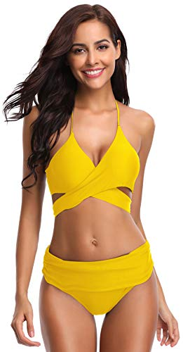SHEKINI Damen Dunkle Farbe Geteilter Badeanzug Push Up Bikini Set Neckholder Bikini Oberteil Mit High Waist Bikini Bottom Damen Badeanzug Sport Zweiteiliger Badeanzug (M, Gelb)