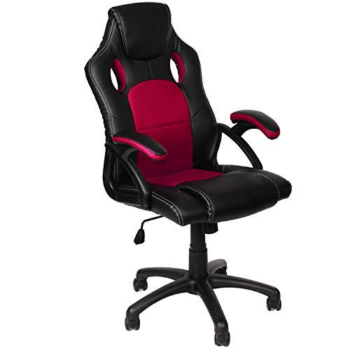 Panorama24 Gamer Stuhl Gaming Schreibtischstuhl Chefsessel Bürostuhl Ergonomisch, Weinrot, 9 Farbvarianten, gepolsterte Armlehnen, Wippmechanik, belastbar bis 150 kg, Lift TÜV geprüft