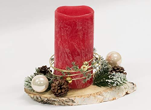 Adventsgesteck Nr.52 Baumscheibe mit roter LED Kerze incl. Timer und Golddraht Weihnachtsgesteck, Wintergesteck, Advent Adventskranz