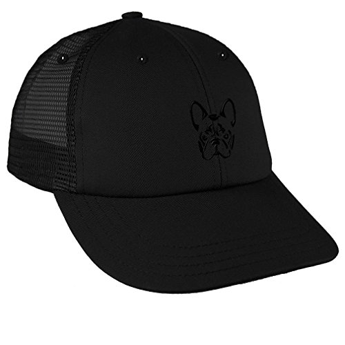 French Bulldog Silhouette Embroidery Low Crown Mesh Golf Snapback Hat Black